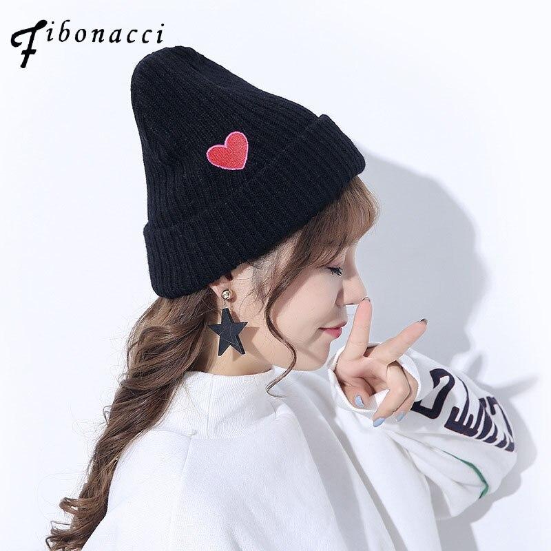 Fibonacci 2017 Winter heart embroidery beanies caps for woman warmer bonnet ladies our heart knit hat generalization of fibonacci sequence