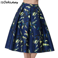 12 OAKS OF KATY Europe And America Vintage High Waist Midi Skirt Printed Big Bottom Flared