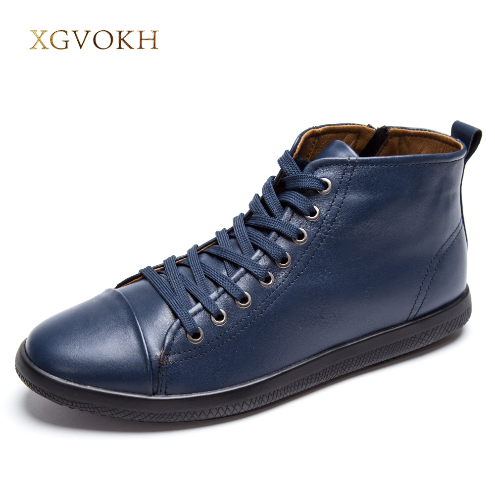 XGVOKH Size 37-47 shoes Men boots Spring Autumn Winter human race warm genuine leather boots comfortable winter high quality