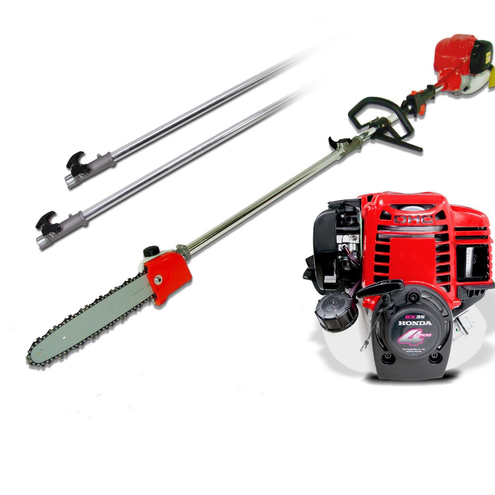 GX35 Long Reach Pole Chainsaw telescopic 4 stokes Petrol Chain Saw Brush Cutter Tree Pruner with 2extend pole