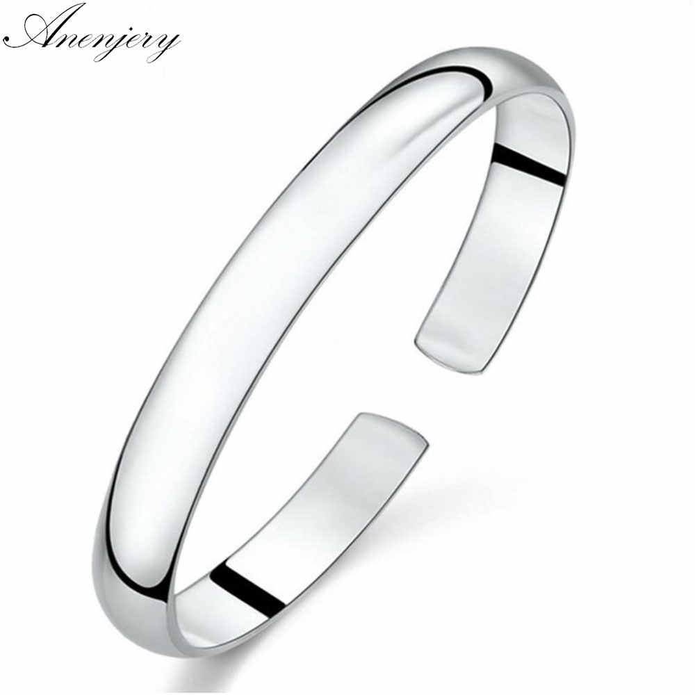 Anenjery Simple Fashion 925 Sterling Silver Smooth Cuff Bracelets & Bangles For Women pulseras Valentine's Day present S-B61