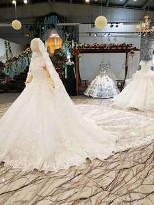 Image 4 - LS860540 שנהב קצר שרוול חתונה שמלת o צוואר נפוח הכלה שמלת סין מפעל סיטונאי ארוך 3d פרחי צעיף vestido coctel
