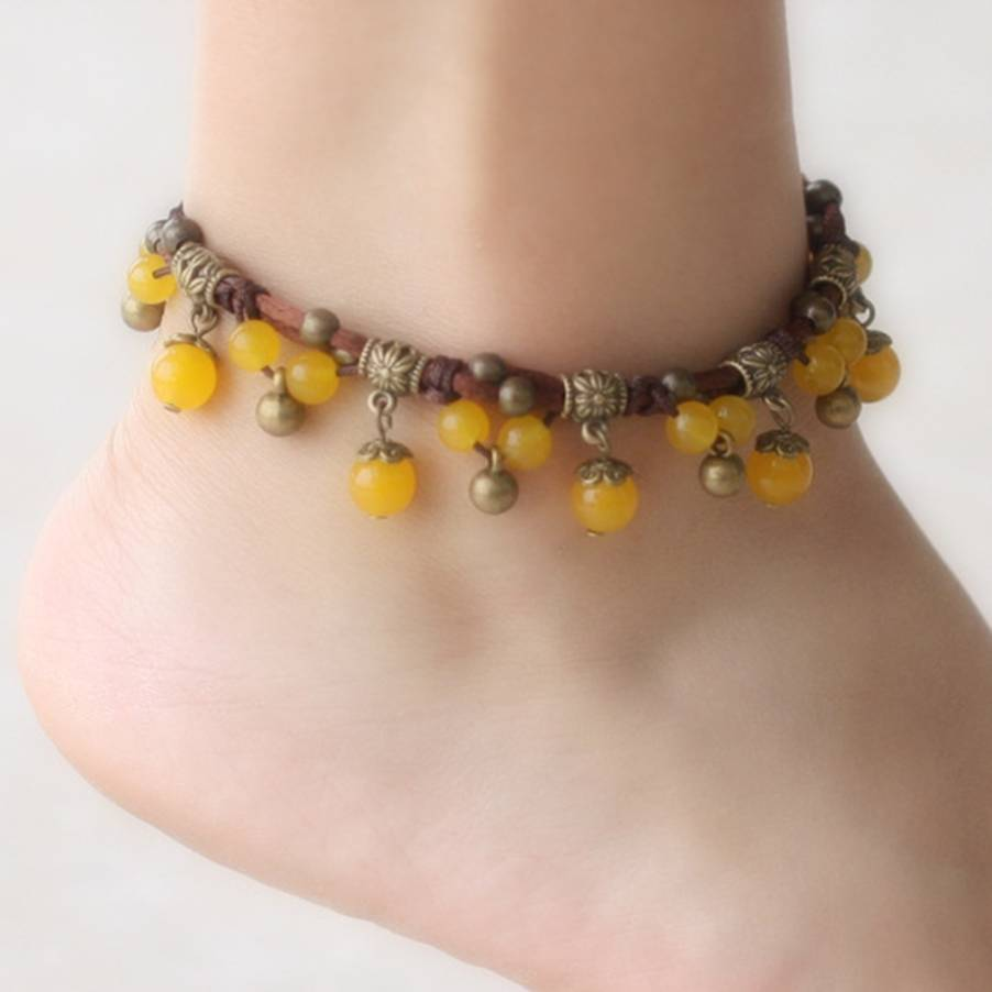 Indian Handmade elastic Stone Copper Bead Anklet For Women Boho Beach Anklet Bell Bracelet Foot Jewelry ancle braclets