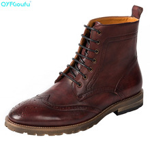 QYFCIOUFU 2019 Handmade Luxury Vintage Spring Autumn Genuine Leather Martins Boots Wedding Chelsea Lace-up Brogue shoe