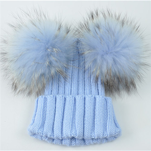 384a17be67e45d קנו גברים ' s כובעים | Winter Baby Knit Hat With Two Fur Pompoms Boy ...