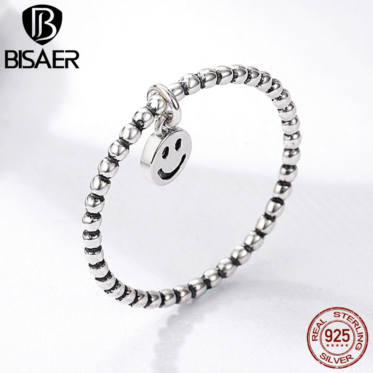 High Quality 925 Sterling Silver Smiling Face Expression Emoji Finger Rings for Women Anel Party Anniversary Jewelry GXR147