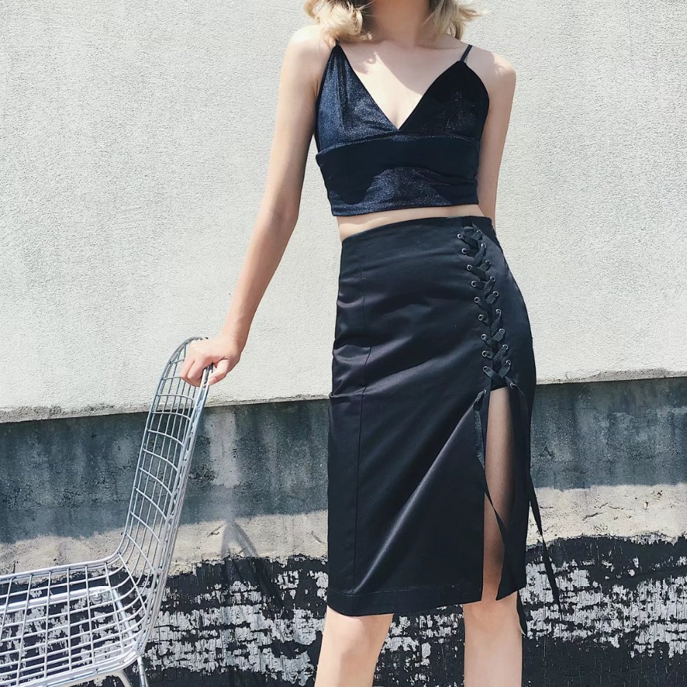 Spring Summer Women's Lace-Up High Waist Sexy Bodycon A Line Skirts