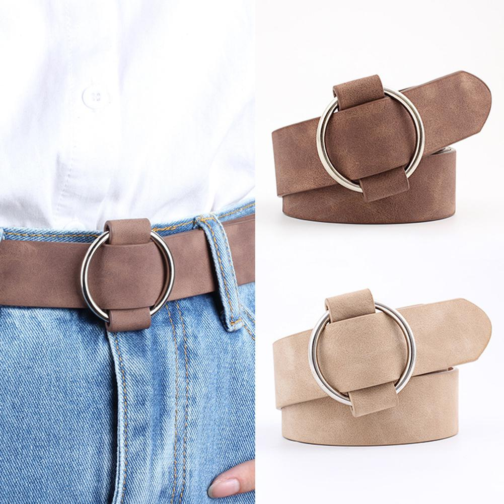 DSstyles Women Newest leather   belts   Round buckle   belts   female Casual jeans wild without pin metal buckle Women strap   belt