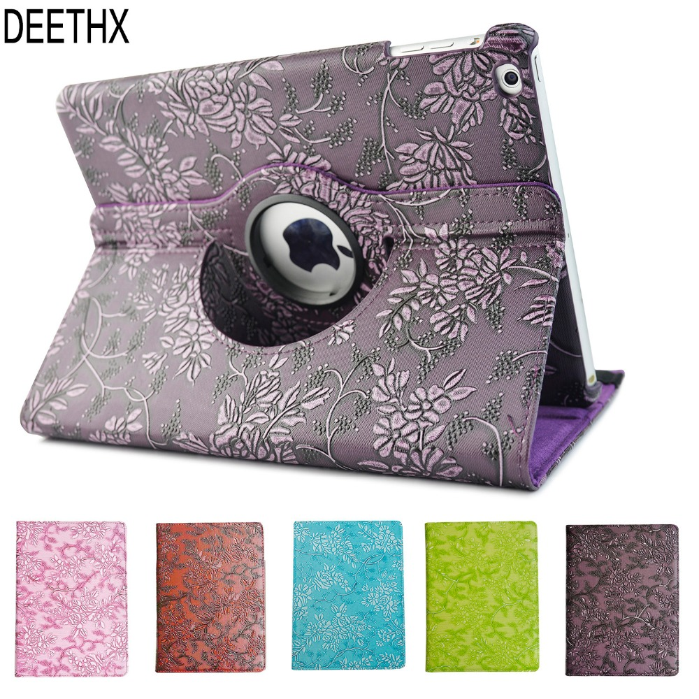 Hot Case for iPad Air 2013 Release model A1474 A1475 A1476 360 grape pattern PU Leather Rotating Smart Stand Tablet cover shell