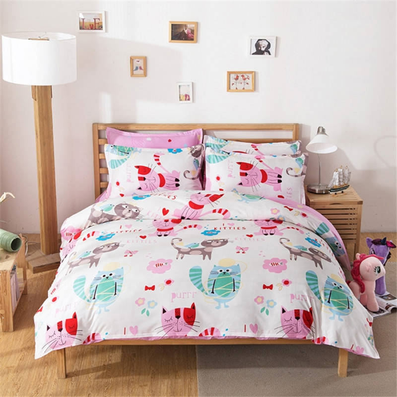 cat bedding set colored printed comforter cover cartoon for kids bed set twin full queen king. Black Bedroom Furniture Sets. Home Design Ideas
