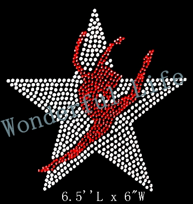 Free shipping New Design hotfix rhinestones motif heat transfer iron on  transfers wholesale free shippinge white star with lady-in Rhinestones from  Home ... 1fe21a5c1905