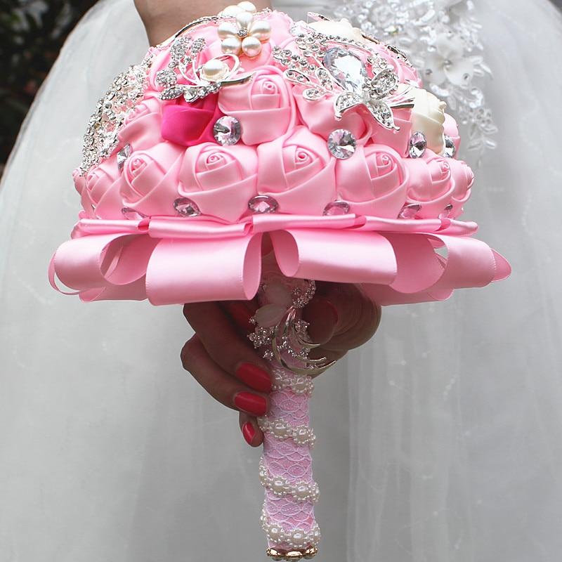 Stunning pink rose flowers wedding bouquet holder crystal diamond stunning pink rose flowers wedding bouquet holder crystal diamond brooch bridesmaid wedding flower bouquet custom w2280 in artificial dried flowers from mightylinksfo