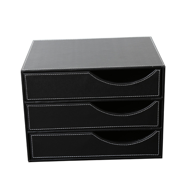 Aliexpress.com : Buy 3 Drawer Leather Desk File Cabinet Organizer ...