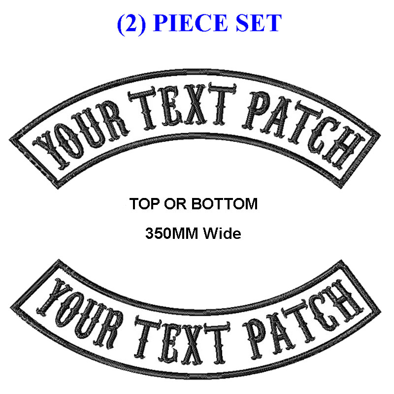 "Custom Embroidered 13/"" Top And Bottom Rocker Patch 2 pc Set Biker MC Club Cut US"