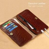 Genuine Leather phone case For xiaomi redmi 6a MIX2 Cases Crocodile Texture Double pocket For xiaomi redmi note 5 case Business