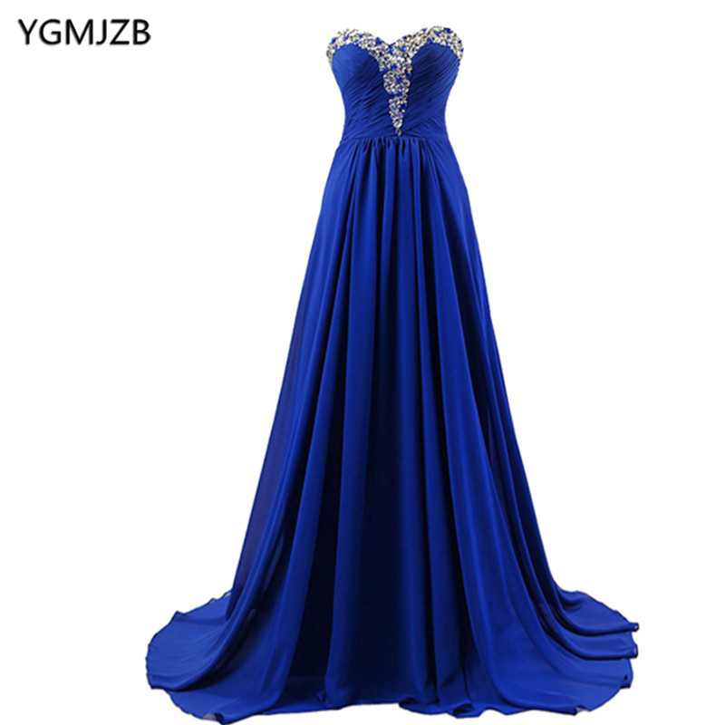 Royal Blue Evening Dresses 2018 A Line Sweetheart Beaded Crystal Chiffon Long Formal Prom Evening Gown Cheap Vestido De Festa ...