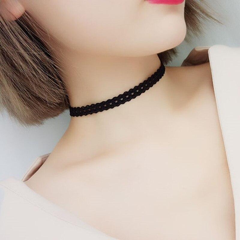 Эластичные чокеры, ожерелья для женщин, Черное кружево, полые цветы, короткие ключицы, ожерелье, модные ювелирные изделия, готический стиль, бижутерия, стимпанк - Окраска металла: N237