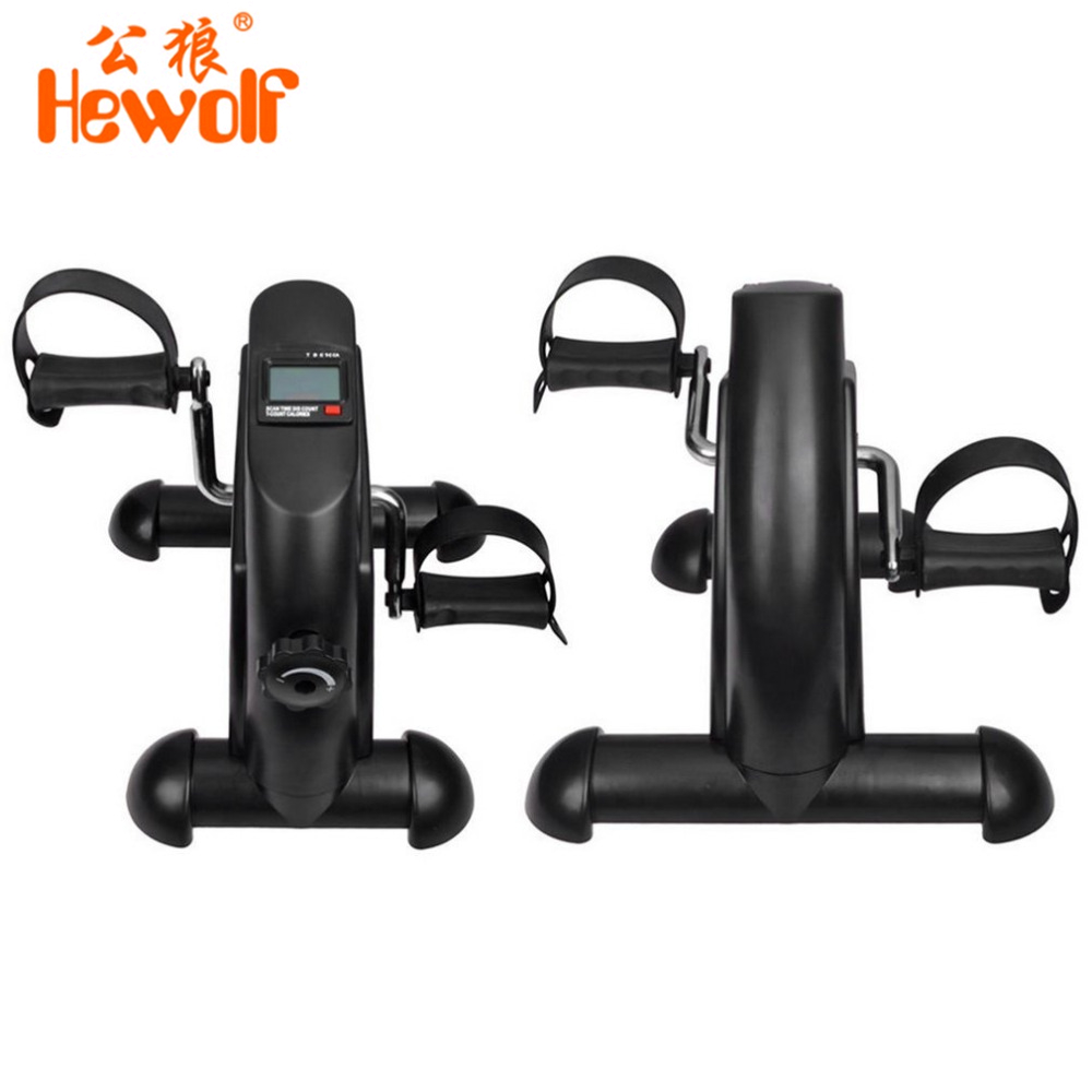 Hewolf Mini Portable Pedal Exerciser Adjustable Knob Cycle Exercise Bike Indoor Fitness With Digital LCD Display free shipping