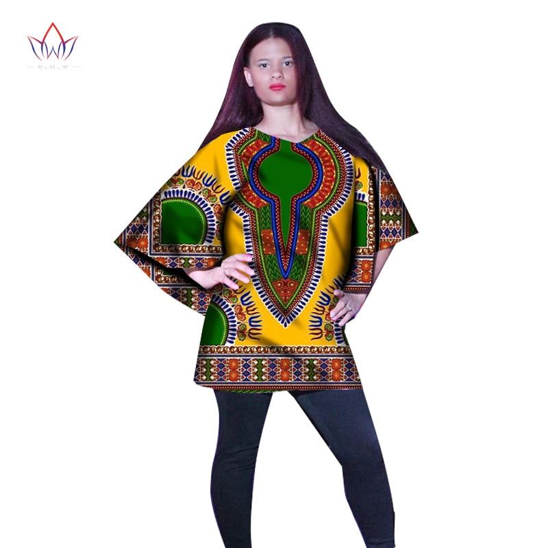 BRW African Women Tees Ankara Fashions Womens Crop Tops Dashiki Africa Print Wax Shirt Plus Size M-6XL Women Clothing WY922