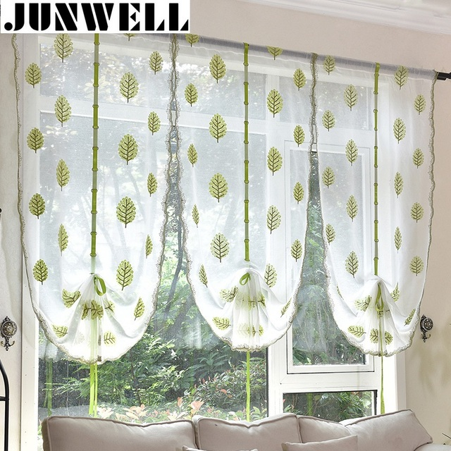 Kitchen Short Curtains Roman Blinds White Sheer Tulle: Junwell White Embroidery Leaves Ribbon Roman Curtain