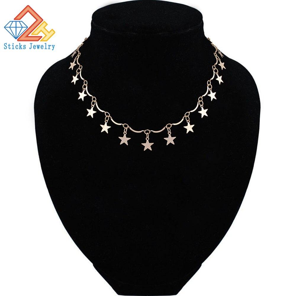 Gold Color Chain Tiny Star Choker Necklace for Women Bijou Necklaces Pendants Simple Boho Chokers
