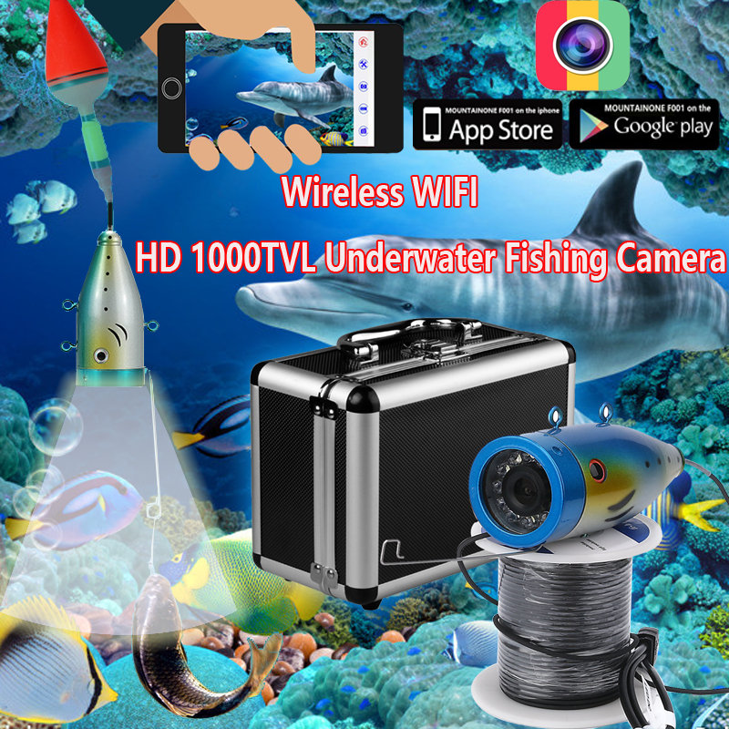 YobangSecurity Wireless Wifi 1000TVL Underwater Fishing Camera Fish Finder Video Recorder Camera White LED lights With APP 2 4g wireless fish finder underwater fishing camera video free soft app 50m underwater breeding monitoring for fish searching