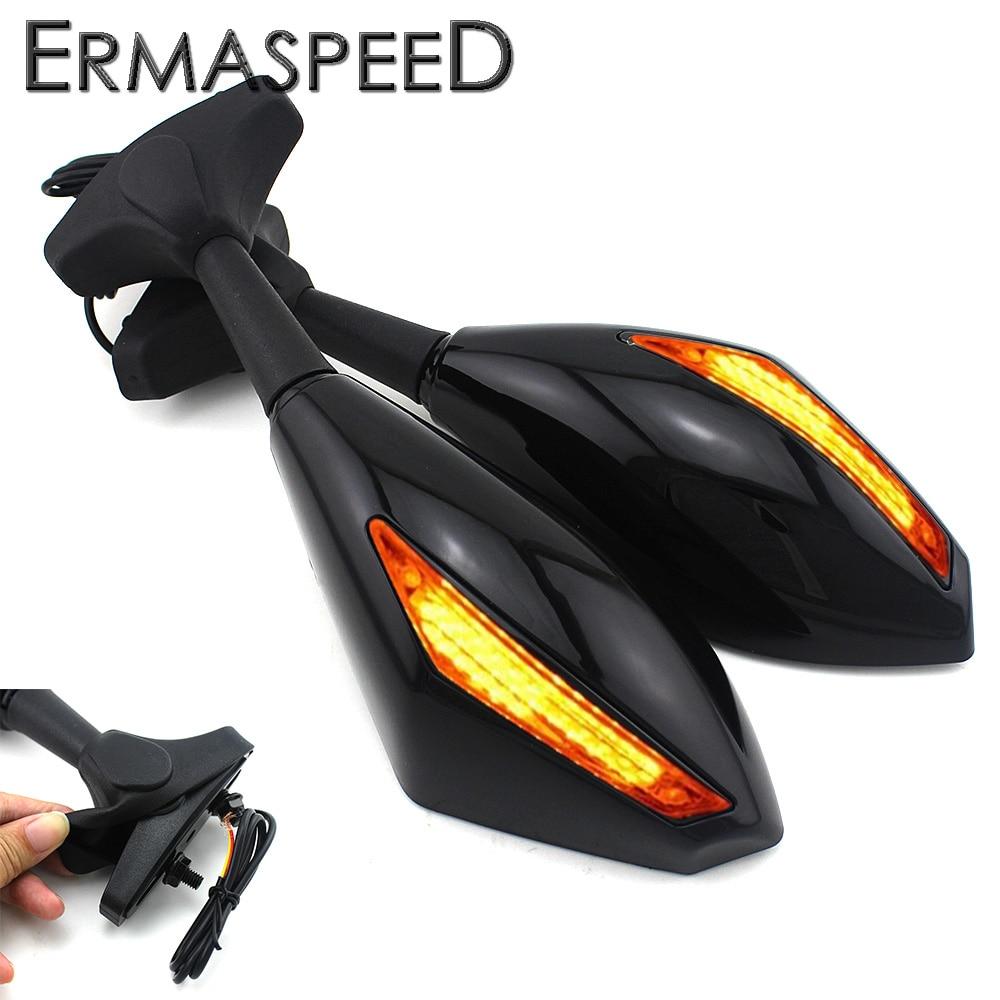 Pair Motorcycle Sport Bike Rear View Mirrors with Turn Signal <font><b>LED</b></font> Indicators Amber Flashers for Honda Kawasaki Yamaha Suzuki