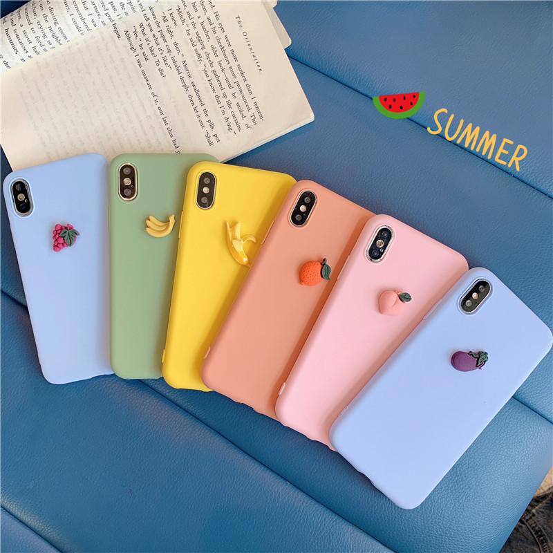 Cute fruit candy color 3D kawaii couple Phone Case For coque iPhone 7 8 6 s plus case silicon for cover X 11Pro XS max XR