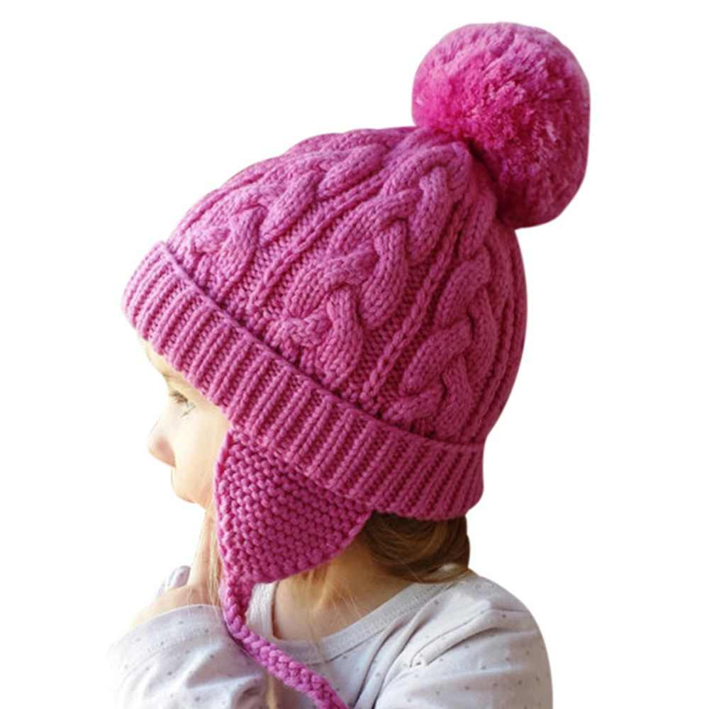 a39381161ba Cute Bomber Hats Baby Girls Boys Fur Pom Pom Winter Warm Wool Knitted  Bomber Braid Hat