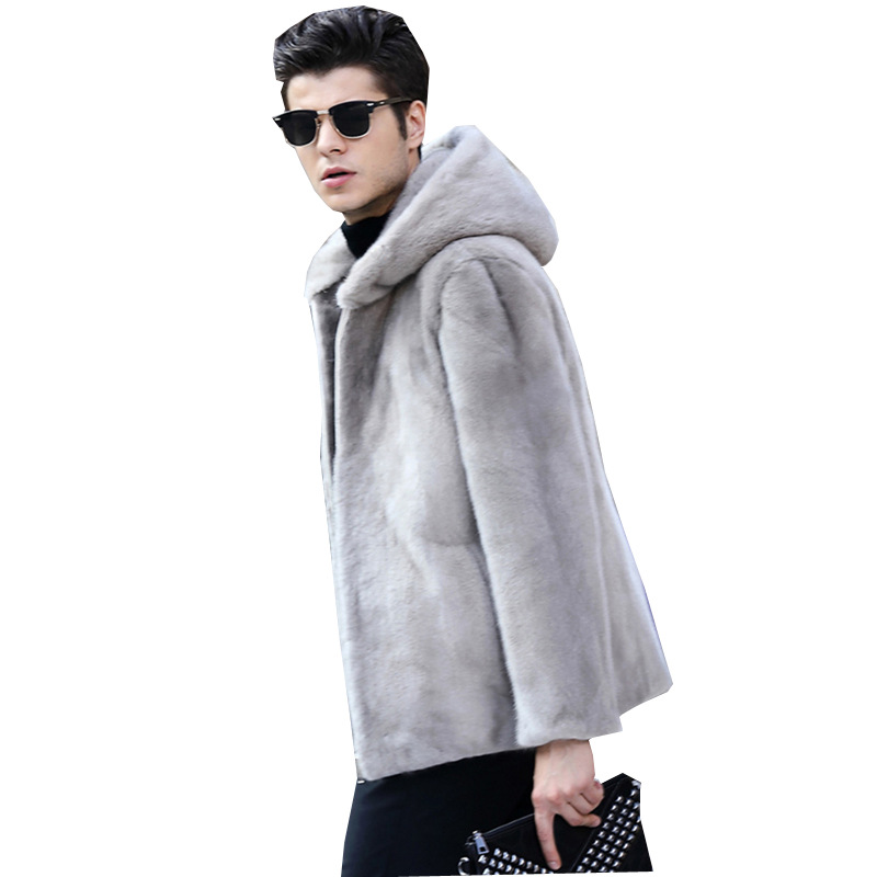 S 6XL New Fashion Winter Clothing men's Fur Coats High imitation Mink fur Coat hooded middle aged Men's Faux Fur Jackets