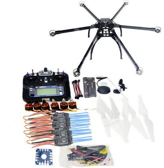 6-Axis Hexacopter Unassembled GPS Drone Kit with Flysky FS-i6 6CH 2.4G TX&RX APM 2.8 Multicopter Flight Controller F10513-F drone upgraded apm2 6 mini apm pro flight controller neo 7n 7n gps power module