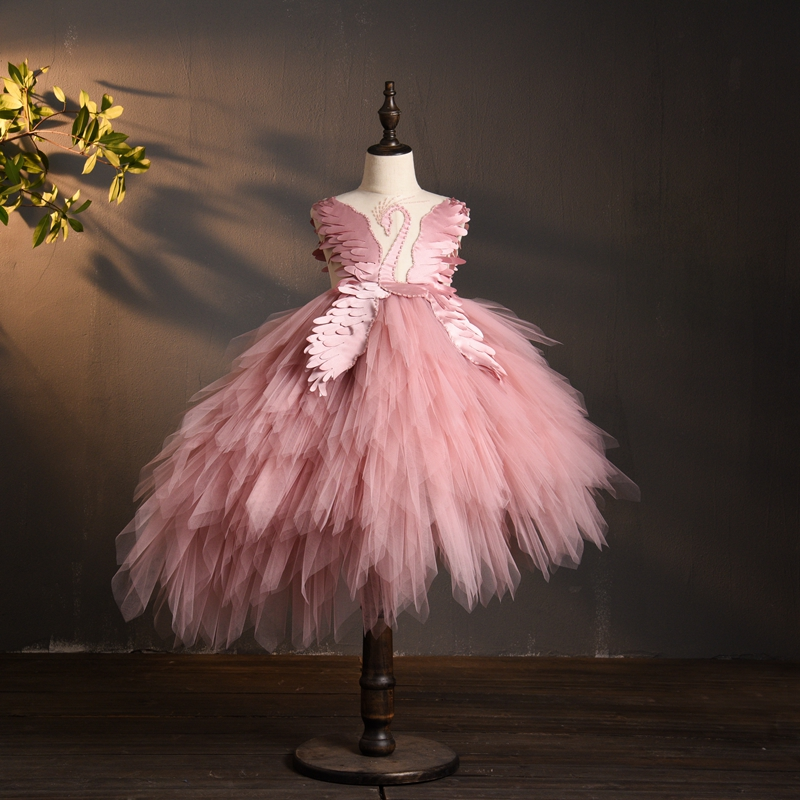New Arrival 2019 Flower Girl Dress for Weddings Beaded Tulle Black Pink First Communion Dresses Girls Carnival Party Gown