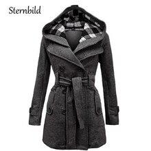 STERNBILD Для женщин модное шерстяное пальто Зимняя Повседневное теплая куртка с капюшоном для Для женщин двубортный бушлат пиджаки Твердые Лидер продаж S-3XL