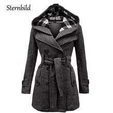 STERNBILD Women Fashion Woolen Coat Winter Casual Hooded Warm Jacket for Women Double Breasted Pea Outwear Solid Hot Sale S-3XL