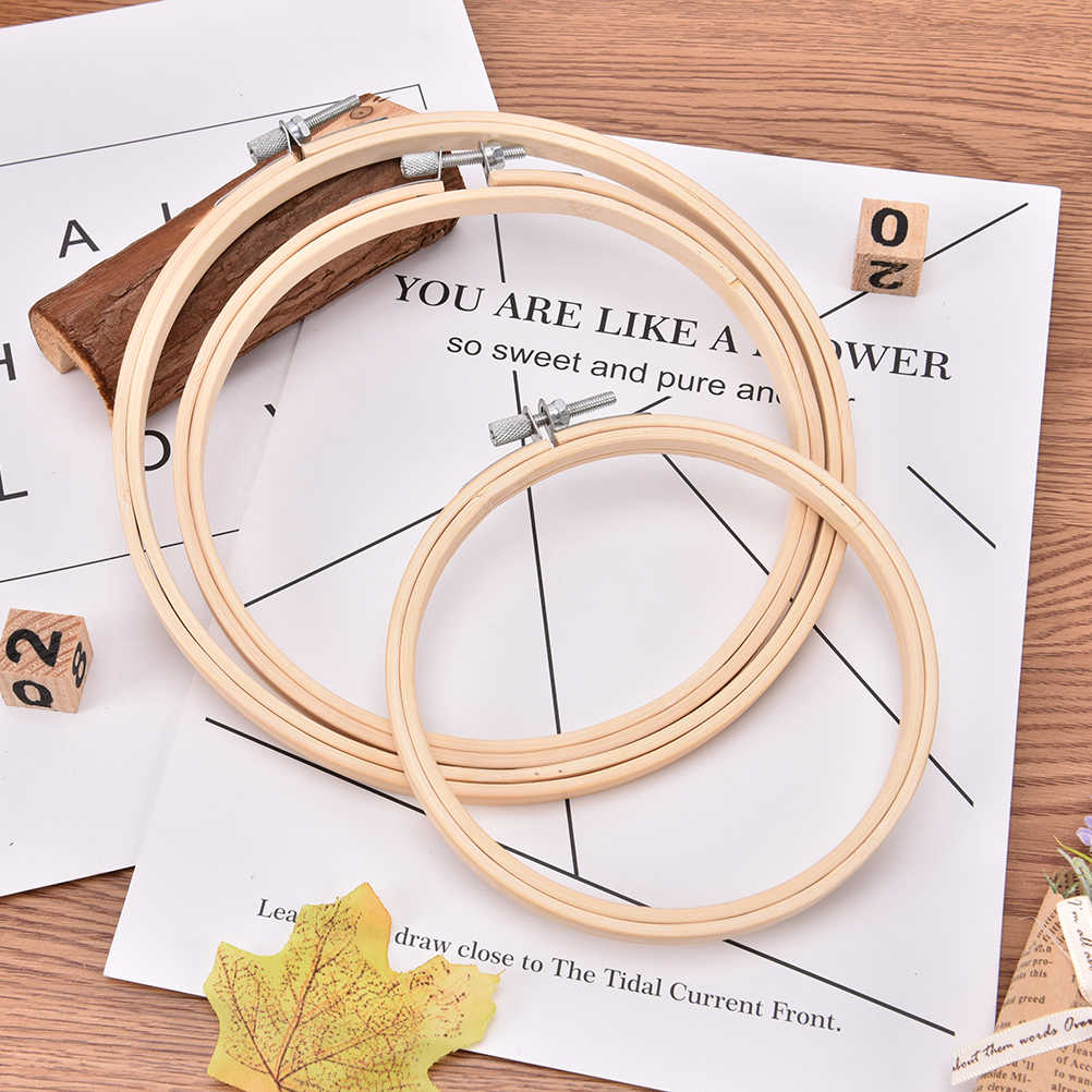 Bamboo Round Loop Hand Household Sewing Tools Frame Embroidery Hoop Ring DIY Needlecraft Cross Stitch Machine 13/15/18CM 3 Size