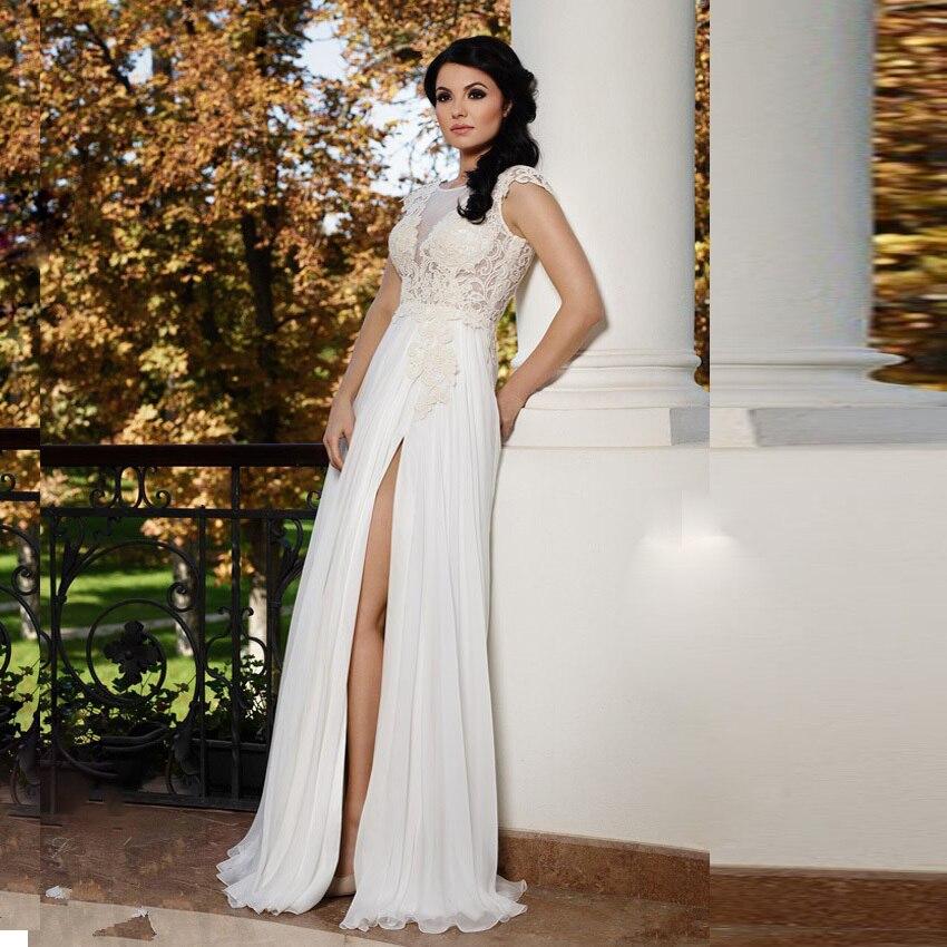 Beach White Wedding Dresses Dresses Robe De Mariage Vintage Open Back Chiffon Appliques Design Bridal Gown