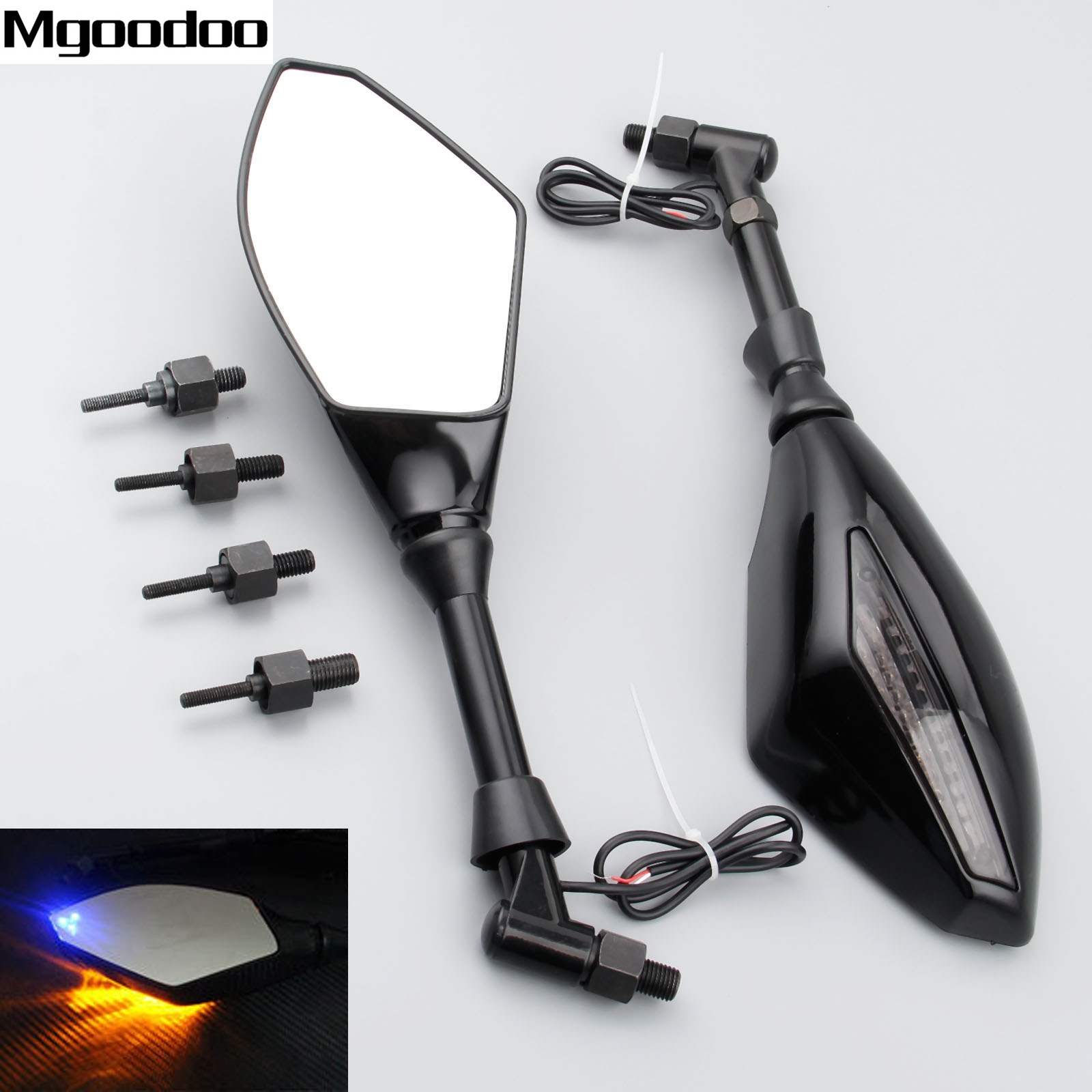 2x Universal 8mm 10mm Motorcycle LED Turn Lights Side Mirrors Turn Signal Indicator Rearview Mirror For Honda Suzuki Street Bike