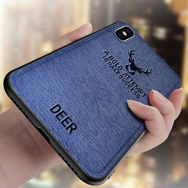 Para iphone 6 6s 7 8 Plus X XS MAX Funda de cuero para Apple iphone XR anti-caída suave silicona TPU árbol cubierta de cabeza de ciervo