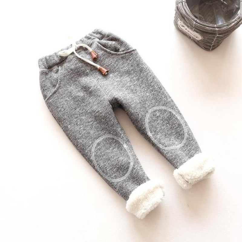 Girls Pants Trousers Toddler Baby-Boys Winter Cotton Children Casual Solid for Velvet title=
