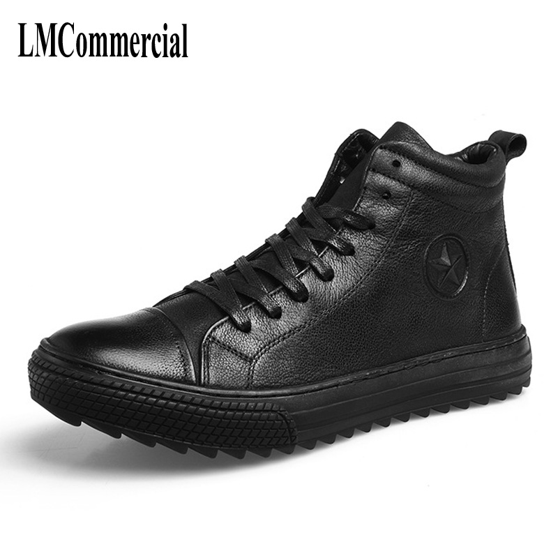 2017 new winter men leather boots star Martin male slip new autumn winter British retro men shoes zipper leather shoes