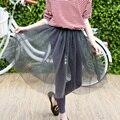 QYSZ Nueva Malla Faldas Niños Niza Moda Negro/Gris Del Vestido de Bola Faldas de Verano Falda hasta la Rodilla Sólido de la Muchacha Sólida-longitud de las Faldas de Encaje