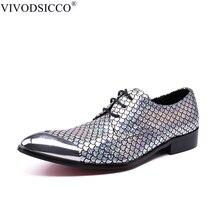 348d99341 VIVODSICCO Novo Escritório de Negócios Dos Homens Vestido Sapatos Homem  Escamas de Peixe de Couro Sapatos