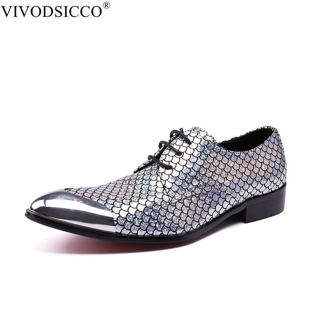 171f46644 VIVODSICCO Novo Escritório de Negócios Dos Homens Vestido Sapatos Homem  Escamas de Peixe de Couro Sapatos