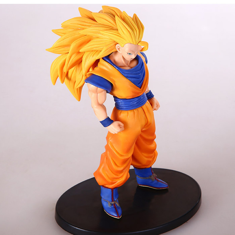 17CM PVC Dragonball Super Saiyan 3 Son Goku Kakarotto Action figure Car furnishing articles model Holiday gifts Ornament toys new 1pieces lot pvc qq mini shape shifting robot car monster machines furnishing articles children s gift