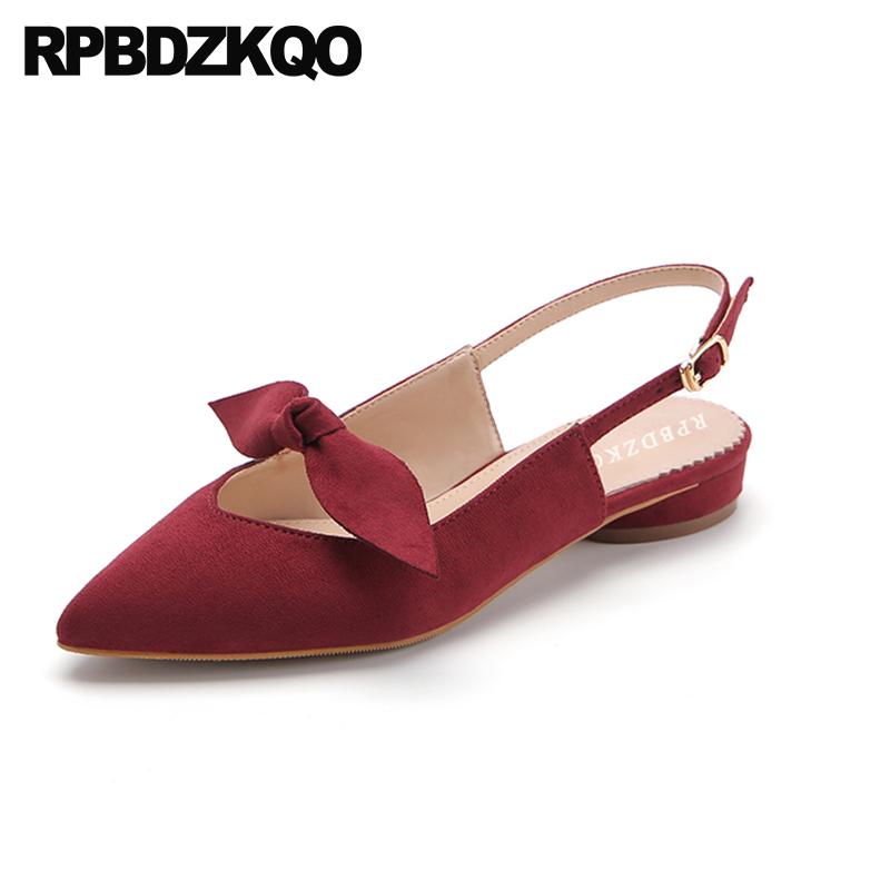 Comfortable Suede Bowtie Women Sandals Flat Casual Cute Summer Bow Slingback Pointed Closed Toe Shoes Kawaii 2018 Burgundy pu closed toe color block slingback shoes