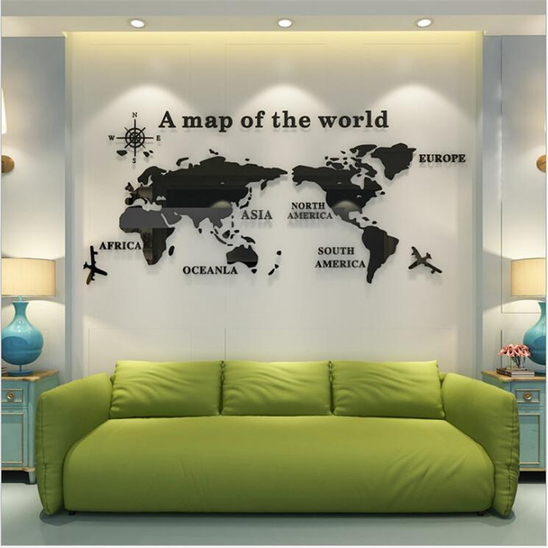 DIY <font><b>3D</b></font> large <font><b>Acrylic</b></font> <font><b>World</b></font> <font><b>Map</b></font> <font><b>Wall</b></font> <font><b>Stickers</b></font> For Office Living Room TV Background home Decoration accessories Mirror <font><b>Stickers</b></font> image