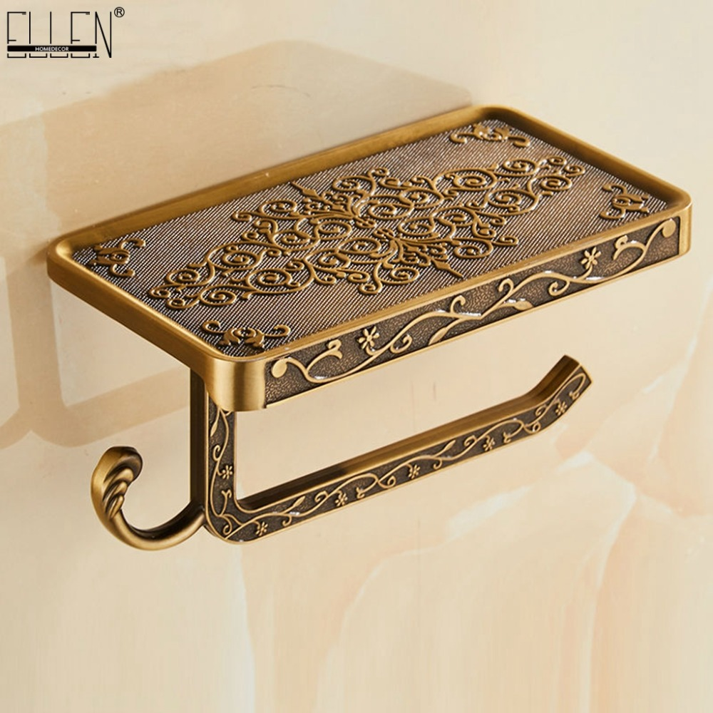 Bathroom Shelves Antique Bronze Carving Toilet Roll Paper Rack With Phone Shelf Wall Mounted Bathroom Paper Holder E654