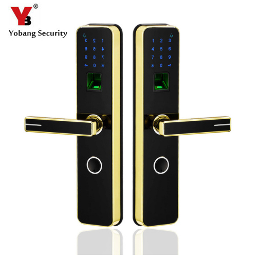 YobangSecurity Smart Lock Biometric Fingerprint Door Lock Digital Keyless Lock Unlock By Fingerprint+Password+IC Card+Key 4 Ways biometric security electronic keyless fingerprint door lock digital keyless lock fingerprint password m1 card