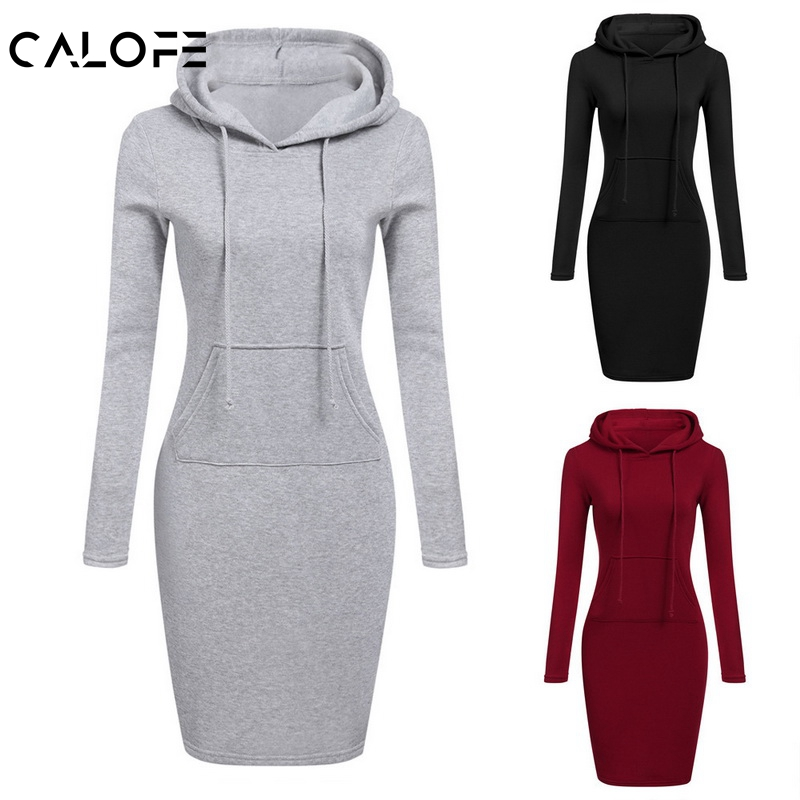 CALOFE Autumn Winter Warm Fleece Sweatshirt Dress Long Sleeve Hoody 2019 Women Hoodie Pocket Designer Simple Women Mid Dress