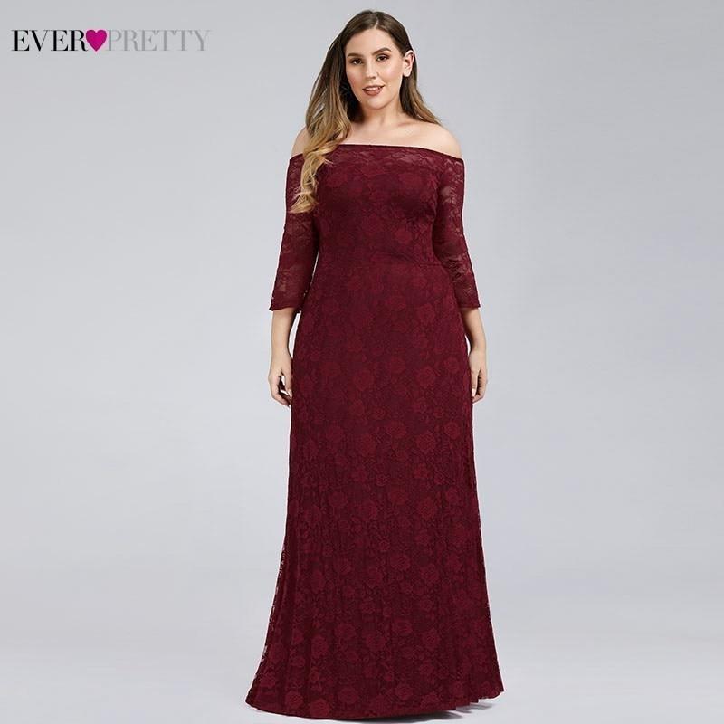 Plus Size Burgundy Evening Dresses Ever Pretty EP00814BD A-Line Off The Shoulder Elegant Lace Formal Dresses Robe De Soiree 2020